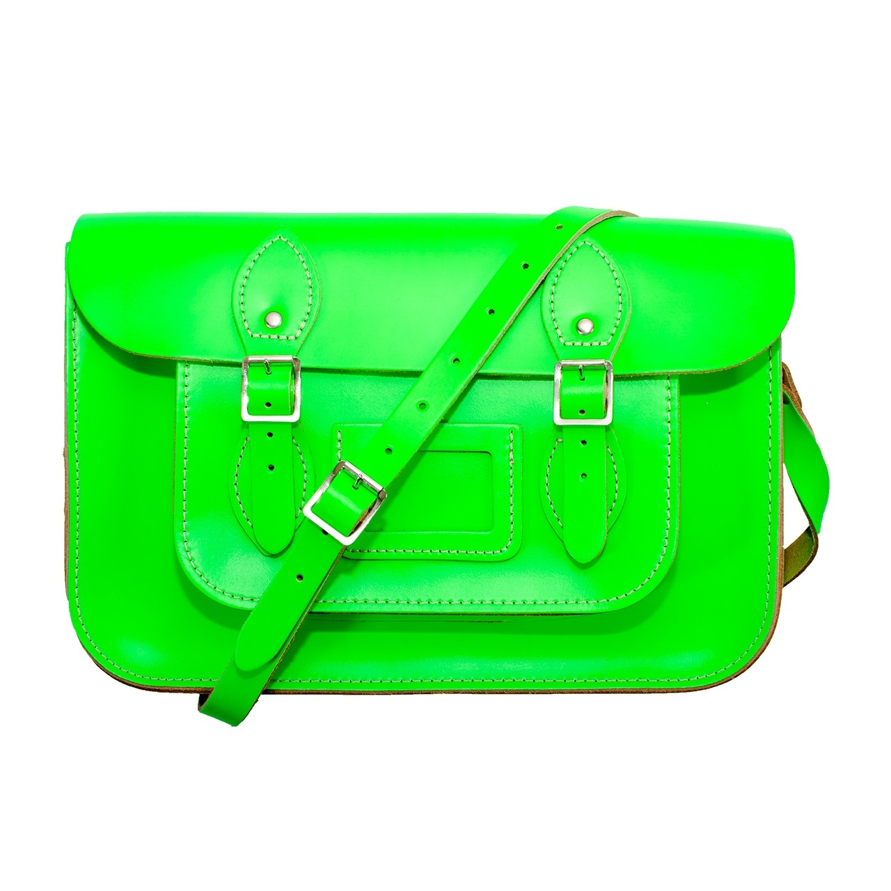 """14"""" Day Glow Green English Leather Satchel"""