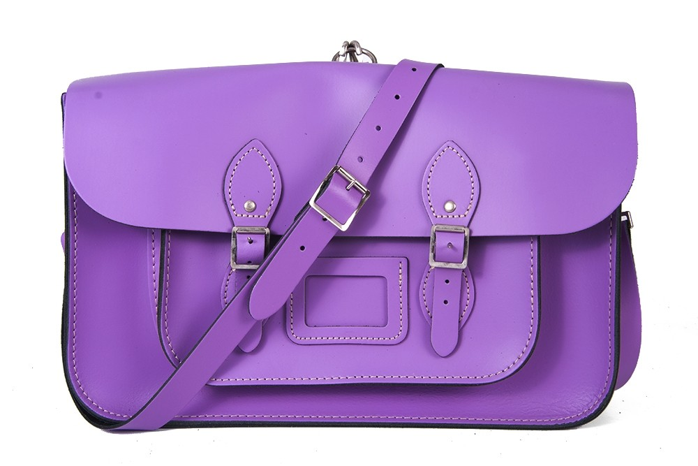 "15"" Light Purple English Leather Satchel - Backpack"