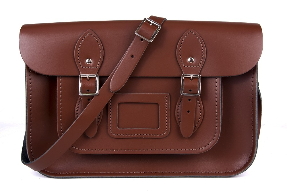 "13"" Chestnut Brown English Leather Satchel"