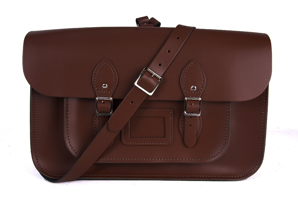 """15"""" Brown English Leather Satchel - Backpack"""