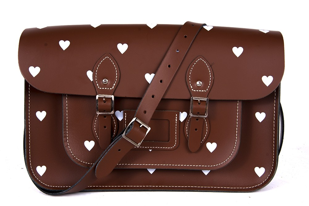 """14.5"""" Chestnut Brown White Heart English Leather Satchel"""