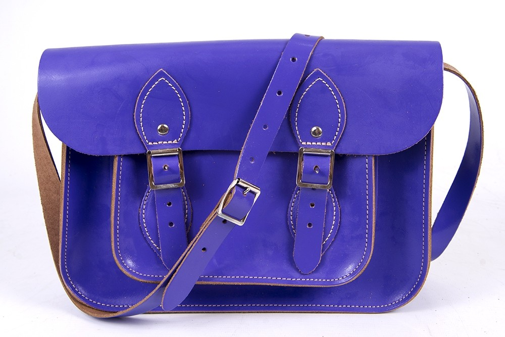 "11"" Purple Patent English Leather Satchel"
