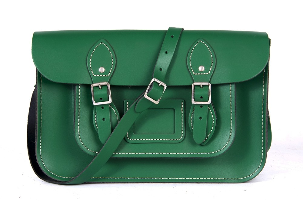 "15"" Sherwood Green English Leather Satchel - Magnetic"
