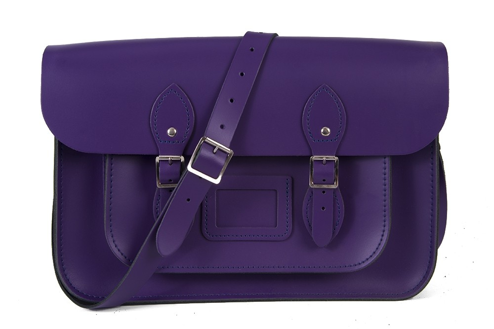"11"" Purple Magnetic English Leather Satchel"