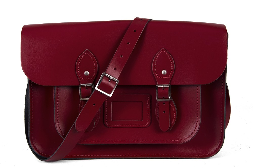 "14"" Dark Red English Leather Satchel Magnetic"