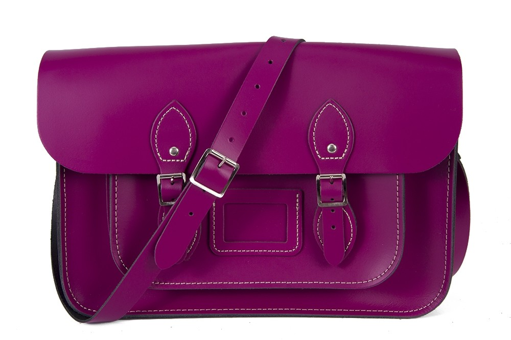 "15"" Cherry English Leather Satchel - Magnetic"