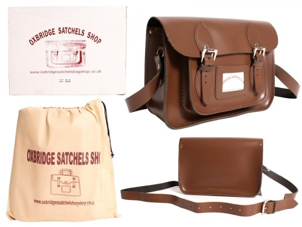 """11"""" IN Chestnut Leather Satchel"""