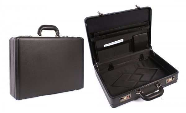 Black Deluxe PVC Leather Look Executive Case