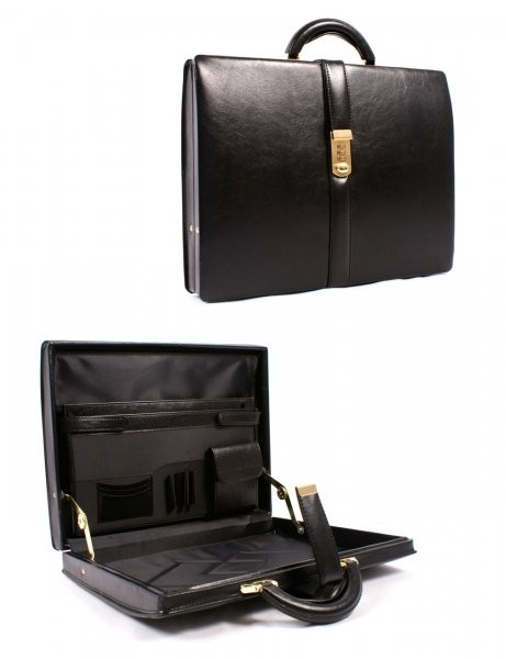 Black & Inner-black Leather Look Executive Case