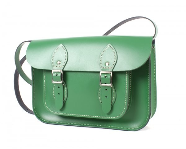 "11"" Sherwood Green English Leather Satchel"