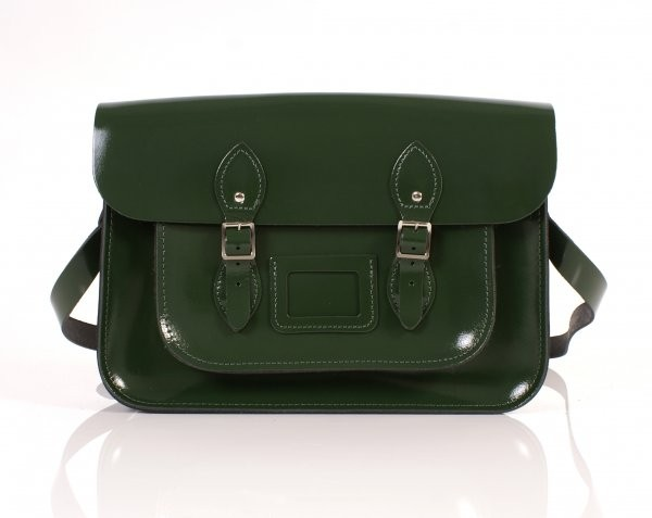 "14"" Racing Green Patent English Leather Satchel"
