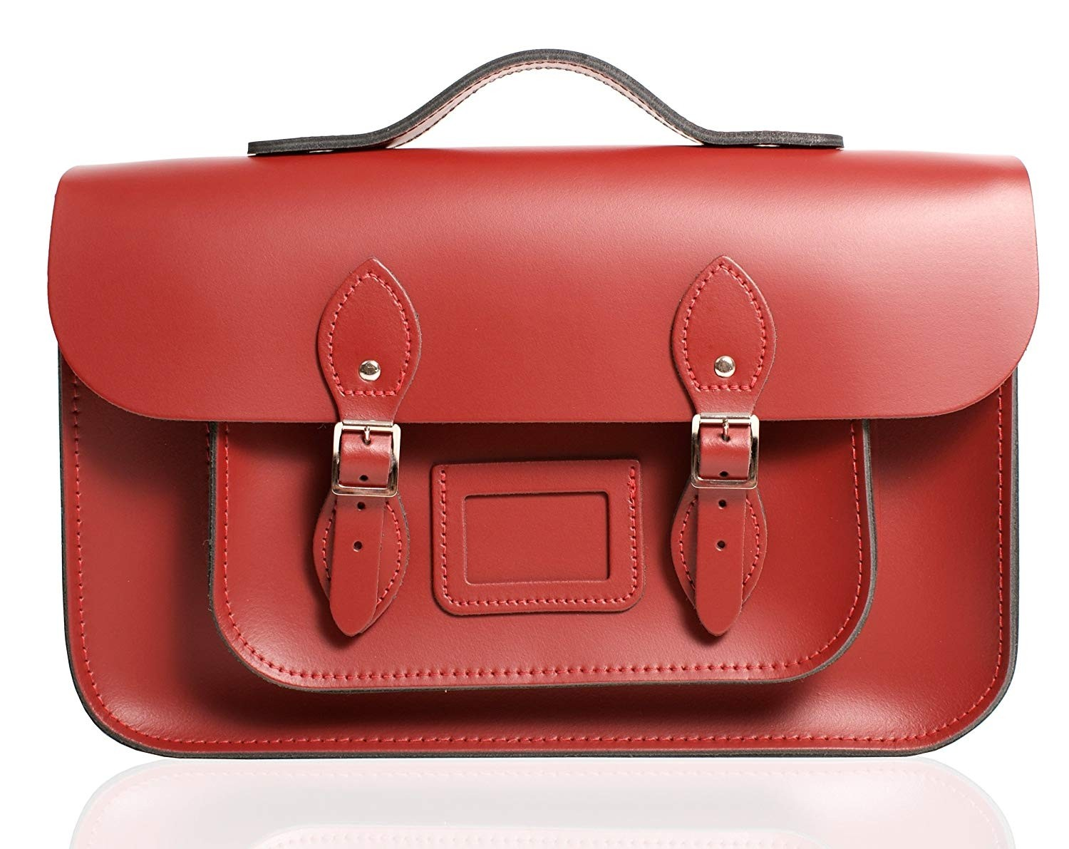 "12"" Red English Leather Satchel - Handleable"