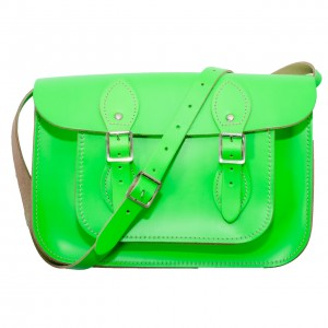 """12.5"""" Day Glow Green English Leather Satchel"""