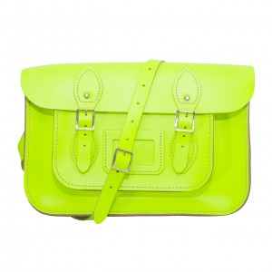 "12.5"" Day Glow Yellow English Leather Satchel"