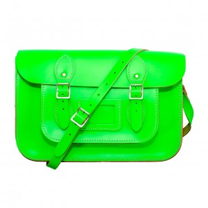 "14"" Day Glow Green English Leather Satchel"