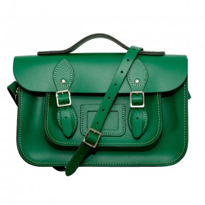 "12.5"" Dark Green English Leather Satchel - Handleable"