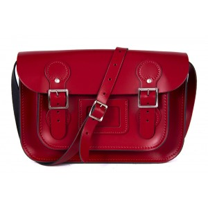 """11"""" Red Patent Circle Leather Satchel"""