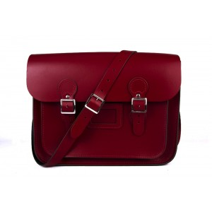 """13"""" Red English Leather Satchel - Circle"""