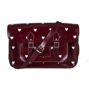 """14.5"""" Wine Red Patent White Heart English Leather Satchel"""
