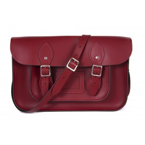 """12.5"""" Dark Red English Leather Satchel - Magnetic"""