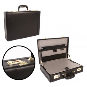Black Deluxe PU Leather Look Executive Case