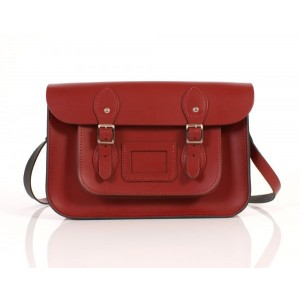 """12.5"""" Red Leather Satchel"""