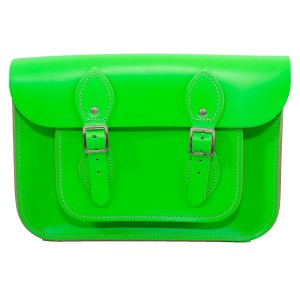 """11"""" DayGlow Green English Leather Satchel"""