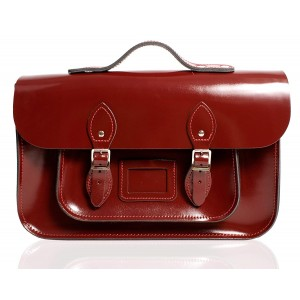 """12.5"""" Oxblood Patent English Leather Satchel - Handleable"""