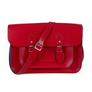 """14"""" Red English Leather Satchel Magnetic"""