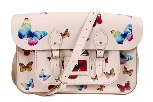 """15"""" Cloud Cream Butterfly English Leather Satchel"""