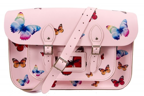 """15"""" Pink Butterfly English Leather Satchel"""