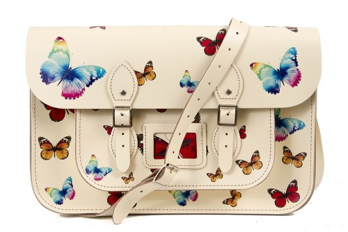 """15"""" Yellow Butterfly English Leather Satchel"""