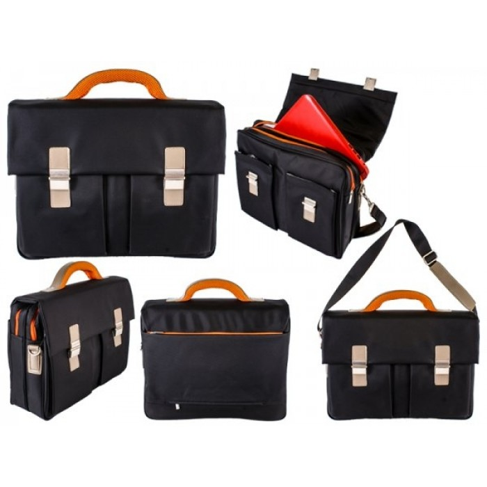 Black-Orange Elegant Office Nylon Briefcase