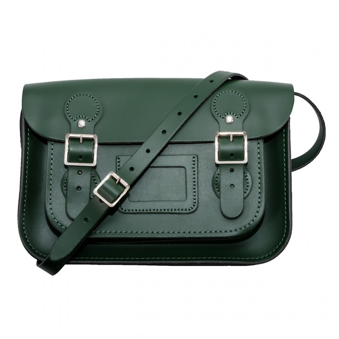 "11"" Green English Circle Leather Satchel"