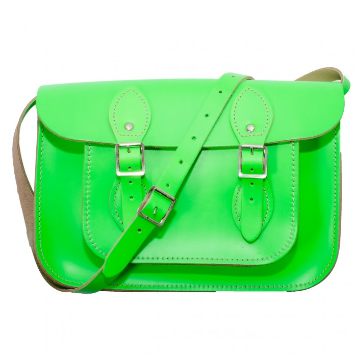 "12.5"" Day Glow Green English Leather Satchel"