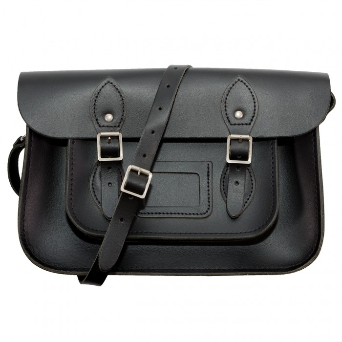 "12.5"" Black English Leather Satchel"