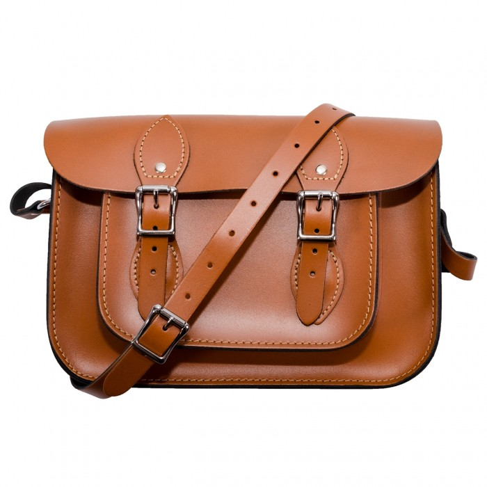 "12.5"" Autumn Tan English Leather Satchel"