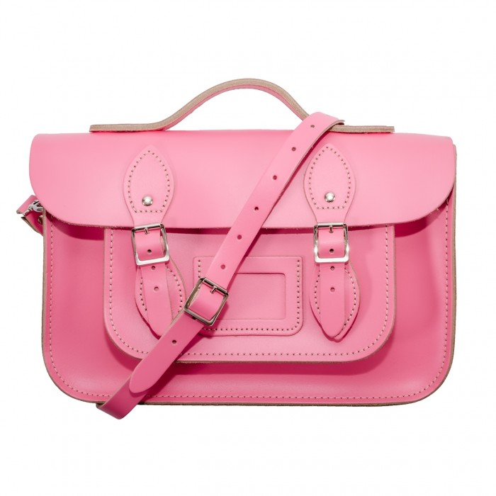 "12.5"" Baby Pink English Leather Satchel - Handleable"