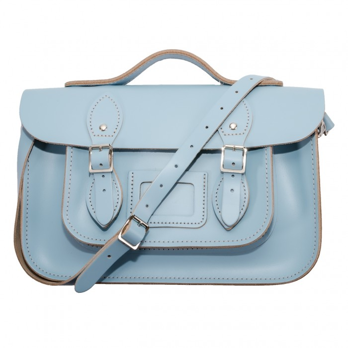 "12.5"" Baby Blue English Leather Satchel - Handleable"