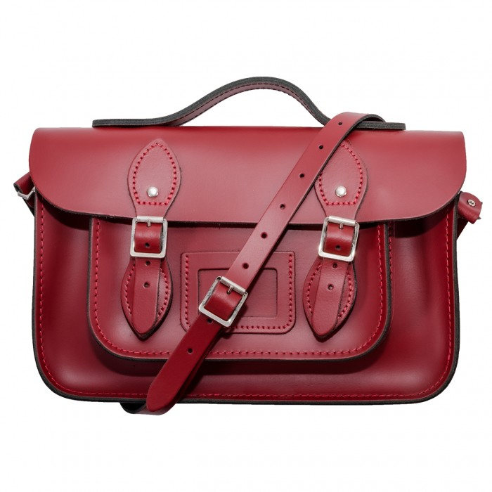 "12.5"" Red English Leather Satchel - Handleable"