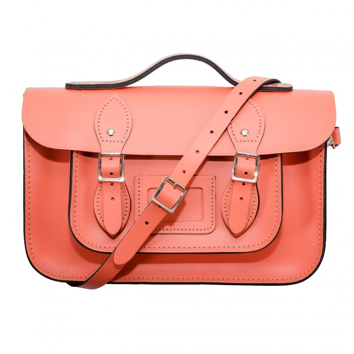 """12.5"""" Coral English Leather Satchel - Handleable"""