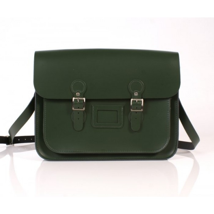 "15"" Racing Green English Leather Satchel - Circle"