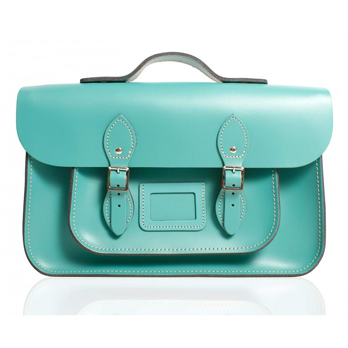 "12"" Cockatoo Blue English Leather Satchel - Handleable"