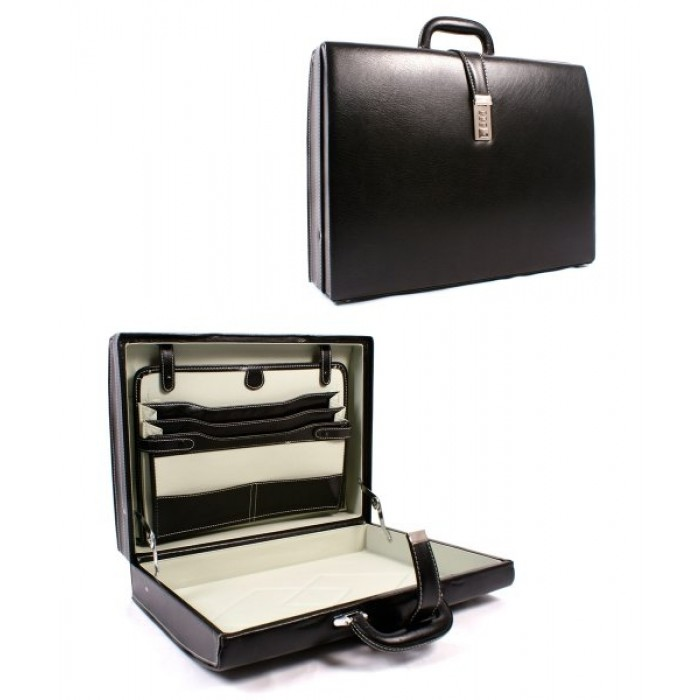 Black & Inner-white Leather Look Executive Case
