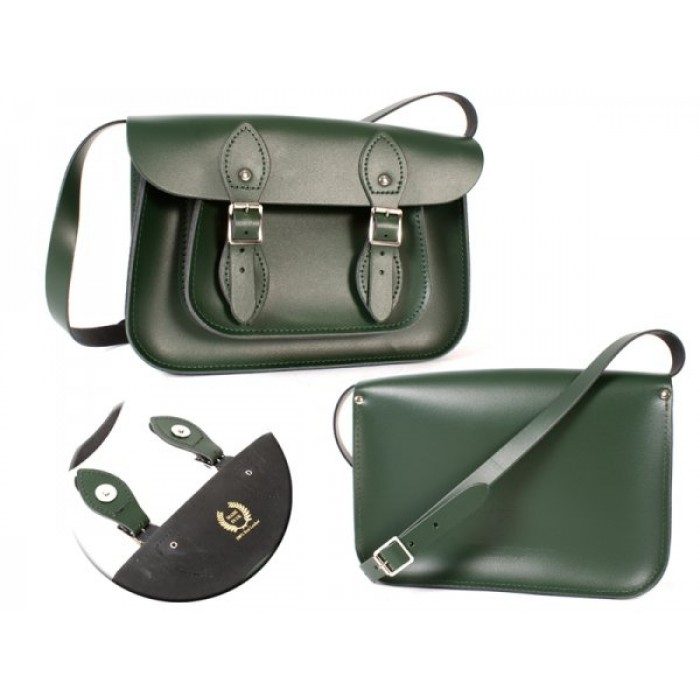 "11"" Green Magnetic English Leather Satchel"