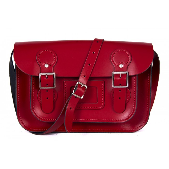 "11"" Red Patent Circle Leather Satchel"