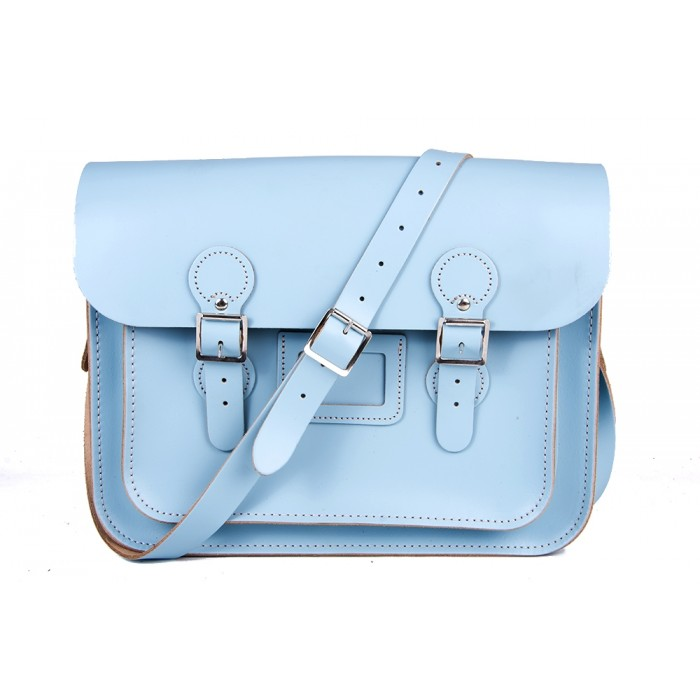 "13"" Baby Blue English Leather Satchel - Circle"