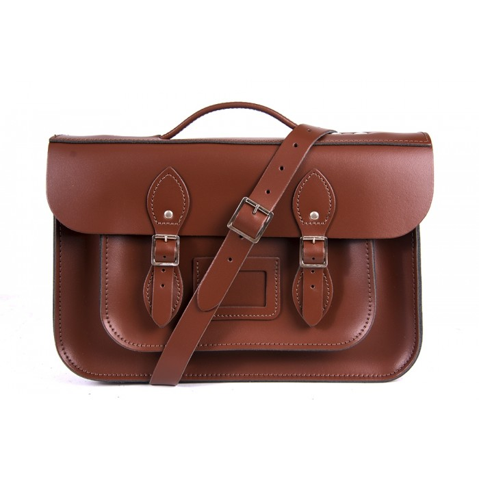 "14"" Chestnut Brown English Leather Satchel Magnetic Briefcase"