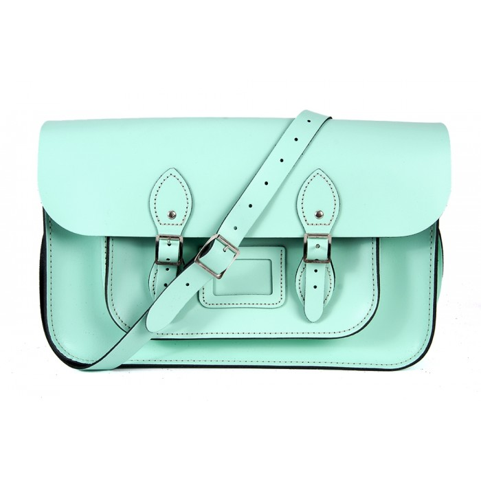 "15"" Mint Blue English Leather Satchel - Magnetic"