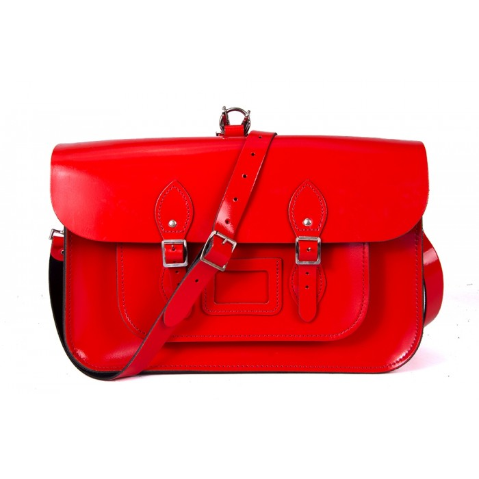"15"" Red Patent English Leather Satchel - Backpack"